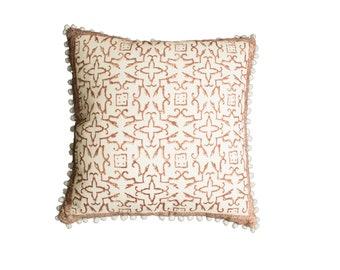 Block Printed Pillow, Throw Pillow, Decorative Pillow, Toss Pillow, Brown Pillow, Asym Tribal African Inspired Pillow,