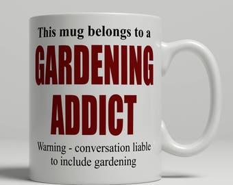 Gardening mug, gardening coffee mug, gardener gift idea, mug for gardener birthday gift, gardening birthday gift idea, EB addict gardening