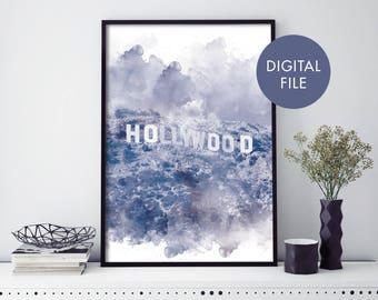 Hollywood Sign Watercolour Print Wall Art   Print At Home   Digital Download File
