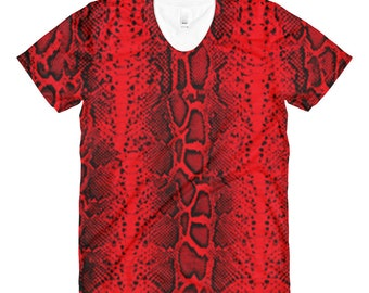Snake Reptile Print Red Womens Shirt Rockabilly Punk Pin Up Burlesque Gothic Clothing Nu Goth Festival Clothing Rave Clothing Burning Man