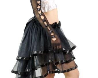 Black Skirt Burlesque Steampunk  Long Bustle Victorian Style Long bustle skirt. Burlesque Costume, Layered Bustle Skirt Costume