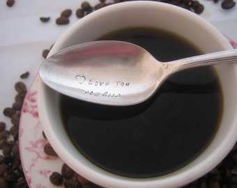Love You Mocha with Heart Stamp -  Upcycled Silverplate Hand Stamped Teaspoon