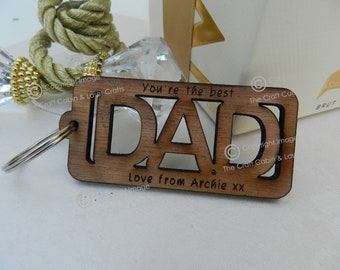 Personalised Cut out 'Dad' Wooden Key Ring. Father's Day, Birthday Gift.