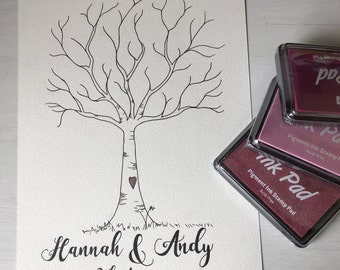 Personalised Handmade Guest Book Fingerprint Tree for Weddings, Party, Christenings, Engagements