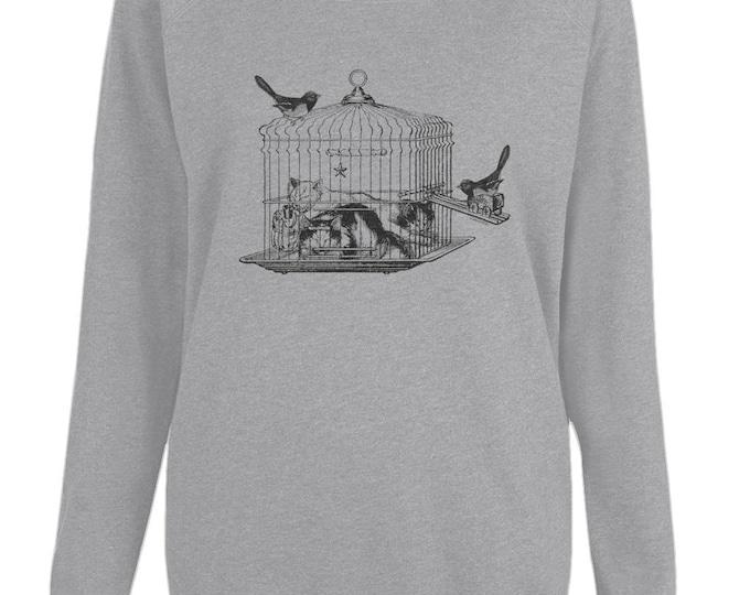 Cats Sleeping In Bird Cage Graphic Womens Organic Cotton Raglan Sweatshirt. Grey.