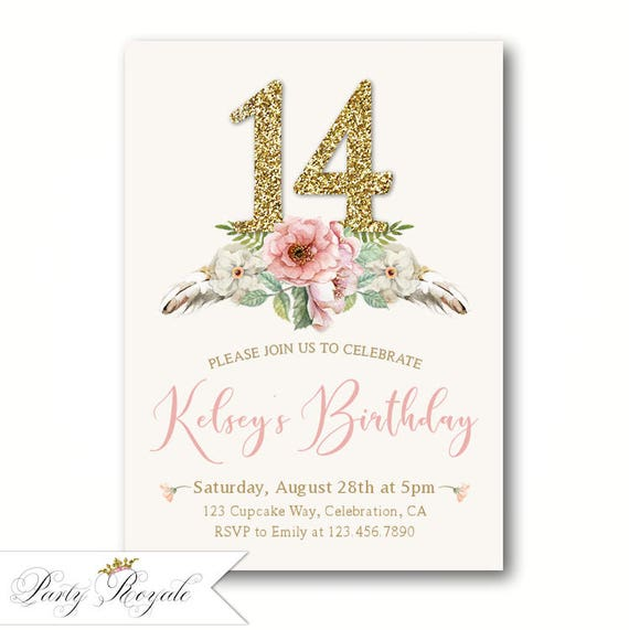 Elegant 14th Birthday Invitations Teen Girls Birthday