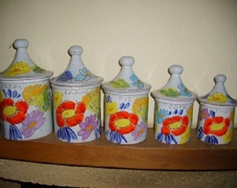 Set of 5 spice jars, very colorful