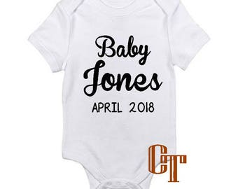 Custom Baby Name Pregnancy Announcement Reveal Coming Soon Onesie Due Date Baby Infant Outfit Newborn Gift Bodysuit Pregnant Photography