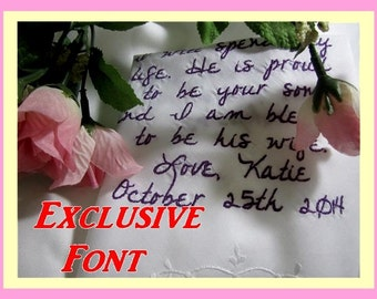 Exclusive Handwriting Style Font - Wedding Gift Ideas and Bridal Gift Ideas. Wedding Handkerchief. Custom and Personalized