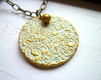 Aqua and Gold Lacy round Necklace - Ophelia in Venice
