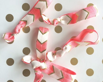 Pink (bubblegum) and white arrows elastic hair ties, pink and gold arrows hair tie, party favor,bridal baby shower favor,birthday favor