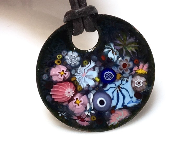Featured listing image: Enameled Copper Art Pendant, Joyful Impressionistic Flower Garden in Pink and Blue, Kiln Fired Glass Enamel on Handmade Metal Pendant