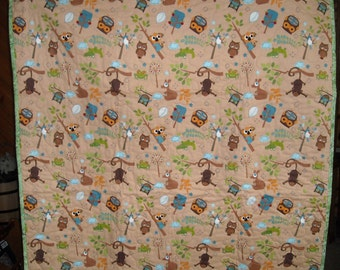 New baby quilt, owls, monkeys, and other animals, washable, made in USA, biege