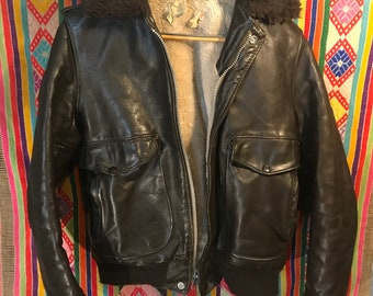Sherpa Lined Leather Bomber Jacket
