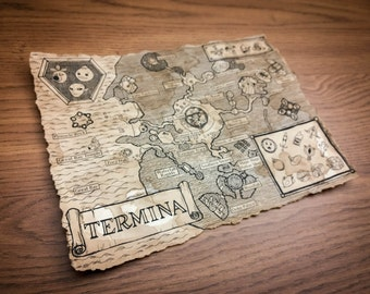Zelda Map, Termina Map, Hyrule Map, Legend of Zelda, Majoras Mask, Ocarina of Time, New, Aged, English or Hylian