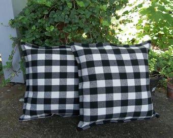 Pair Buffalo Check Custom Pillows Neutral Fall Decor Black White Check Pillows Black Check Pillows Decorative Pillows White House Decor