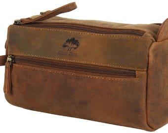 Handmade Buffalo Genuine Leather Toiletry Bag Dopp Kit Shaving and Grooming Kit for Travel ~ Gift for Men Women