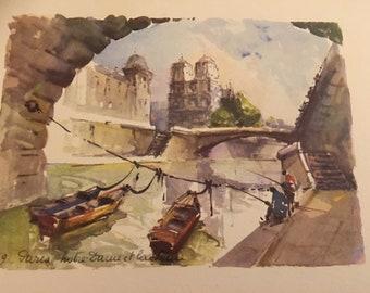 Vintage Watercolor Print of a Parisian Scene, c1950's.