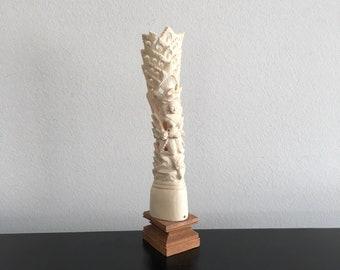 Vintage,Bone Carving,South East Asian Art,Bone Sculpture,Carved Bone,Home Decor,Indonesian Art,