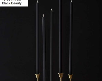 Beeswax Candles 4pcs set - PANTONE 19-3911 TCX - Black Beauty - Straight Taper Wax Candles Natural Color 100% Beeswax Organic