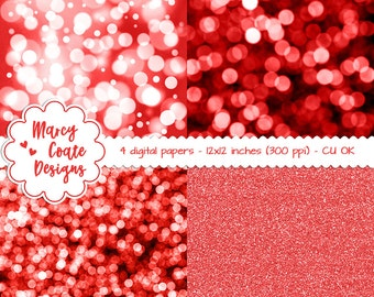 "Red Bokeh Digital Papers & Red Glitter Digital Papers 12x12"" commercial use OK for planners, stickers, scrapbooking, card making, etc."