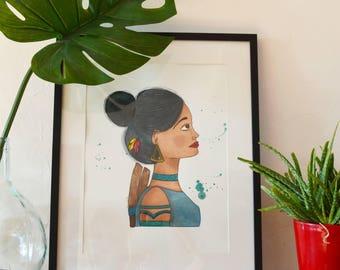 Illustration portrait Sarah - watercolor and gouache painting