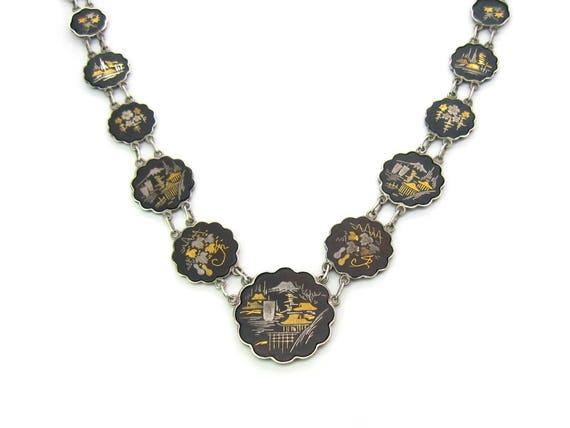 Vintage Japanese 24K Gold Sterling Silver Damascene Inlay Necklace 1950s