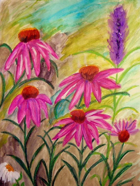 Mixed Media Plein Air Painting, AT THE HAYES, Folk Art by Stacey Torres, watercolor, acrylic and colored pencils
