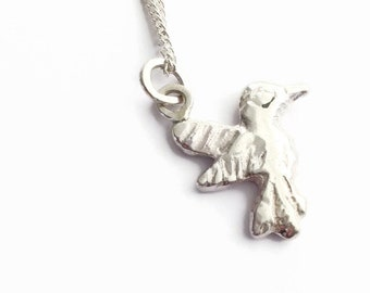 Sterling Silver Hummingbird Pendant Necklace  - HALLMARKED