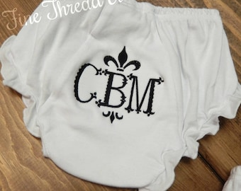 White Cotton Knit Monogram Frame Fleur de Lis Baby Bloomers Diaper Cover with Snaps Initials or Name Baby Shower Gift Crab Whale Deer Bow