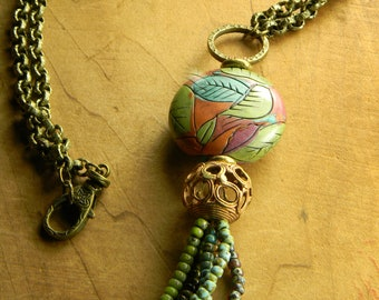 Tribal Tassel Necklace Boho Pendant Blue Green Purple African Brass