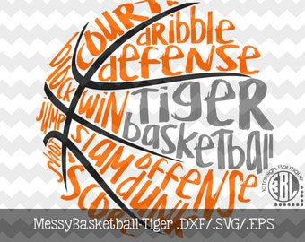 Messy Tiger Basketball design INSTANT DOWNLOAD in dxf/svg/eps for use with programs such as Silhouette Studio and Cricut Design Space