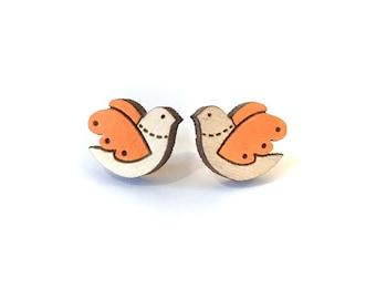 Orange bird earrings ~ hand painted laser cut stud earrings