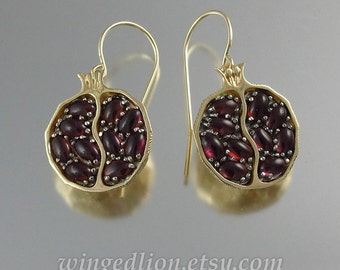 POMEGRANATE garnet 14k yellow gold and silver earrings - Ready to ship