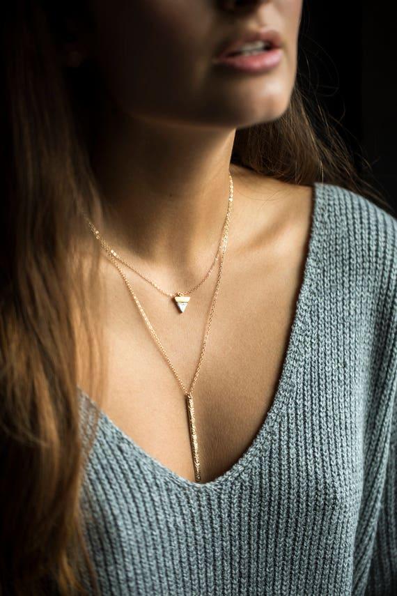 Gold Drop Bar Necklace Cleavage Necklace Sexy Y Necklace