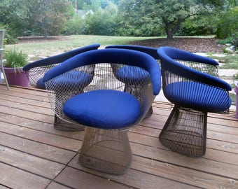 Warren Platner Nickel Arm Chairs, Priced Individually, Pairs of 2