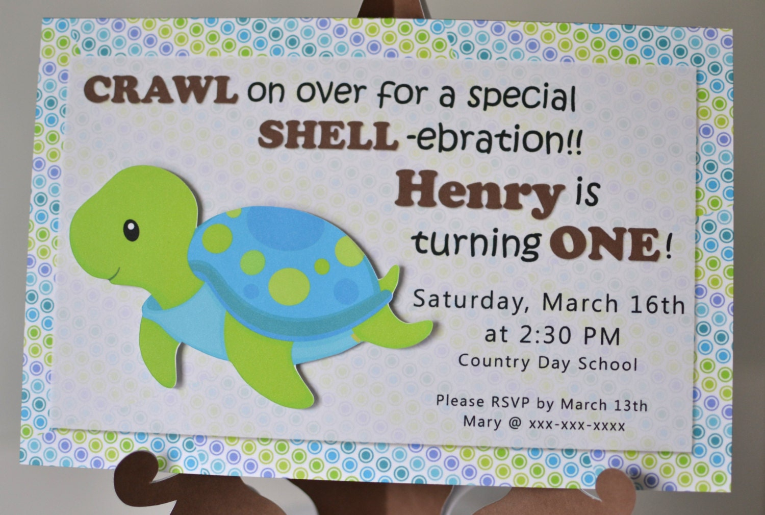 TURTLE Baby Shower Invitation or First Birthday Party Package