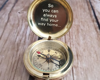 Compass, Engraved Compass, Brass Compass, Working Compass, Valentines Day , Groomsmen Gifts, Christmas Gift, Fathers Day, Mother's Day Gift
