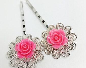Dark Pink Rose Bobby Pins Set of 5 Bridal Party Gift Wedding Party Gift Bridesmaid Gift Pink Hair Accessory Pink Wedding Flower Hair Pin