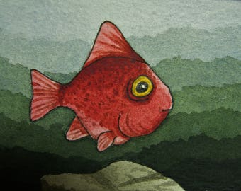 ACEO. Artist trading card. 'Red Herring.' Original watercolour.