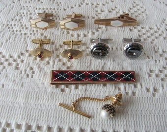 Mens Jewelry Lot, Cufflinks, Tie Bars, Tie Pins, Lot of 10 Swank Emmons