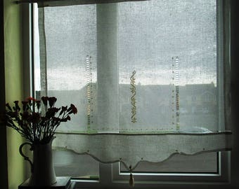 Curtain drawn-thread on linen, hemstitched linen curtain, drawn-thread embroidery curtains