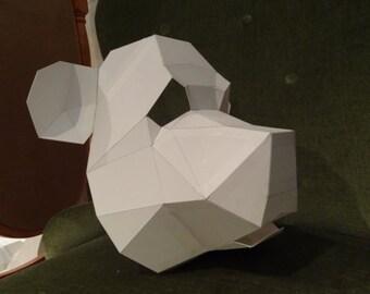 PDF Pattern DIY Halloween Mask Bear Panda 3D
