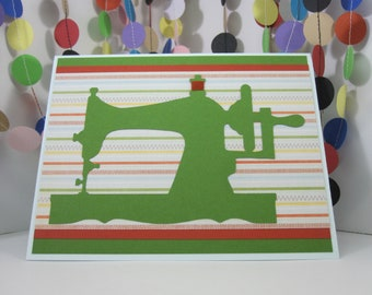 Sewing Machine Card - vintage sewing machine - seamstress sew tailor fabric quilt maker- blood orange green light blue - thread spool