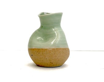 Handmade mint green mini pottery vessel