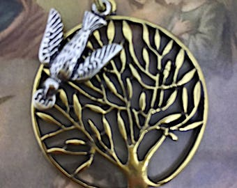 Come Holy Spirit Pendant Necklace Brass Tree and White Bronze Holy Spirit