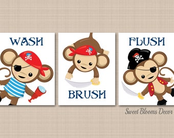 Pirates Bathroom Wall Art Pirates Bathroom Decor Monkey Bathroom Wall Art Monkey  Bathroom Decor Wash Brush