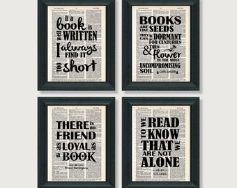 Book Lover Gift- Four Book Quotes - Austen - Lewis - Hemingway - Sagan - Dictionary Art Prints - Value Priced Gift for Book Lovers Fans