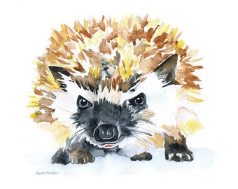Hedgehog Watercolor Painting Giclee Reproduction - 10 x 8 ( 11 x 8.5 ) Hedgehog Art - Woodland Animal