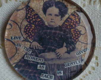GLASS MAGNET LiFES MOMeENTS altered art collage therapy recovery survivor inspirational healing expression